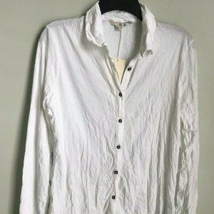 New Boden White Long Sleeve Crinkled Blouse